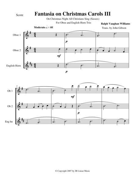 Vaughan Williams - Fantasia on Christmas Carols III for oboe trio