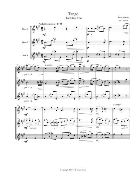 Tango by Albeniz for oboe trio