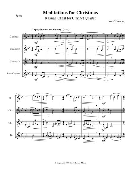 Meditations for Christmas, Russian Chant for Clarinet Quartet