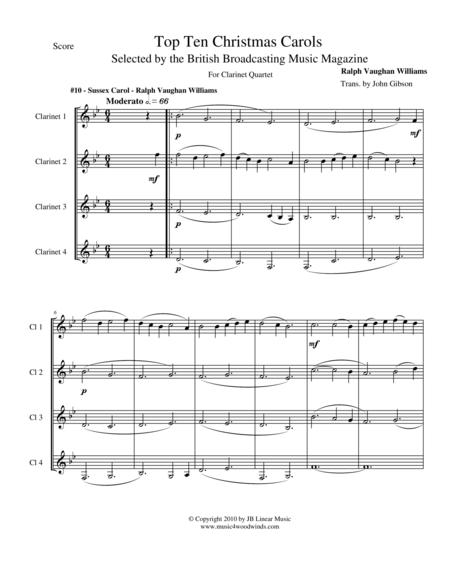 Sussex Carol by Vaughan Williams for Clarinet Quartet