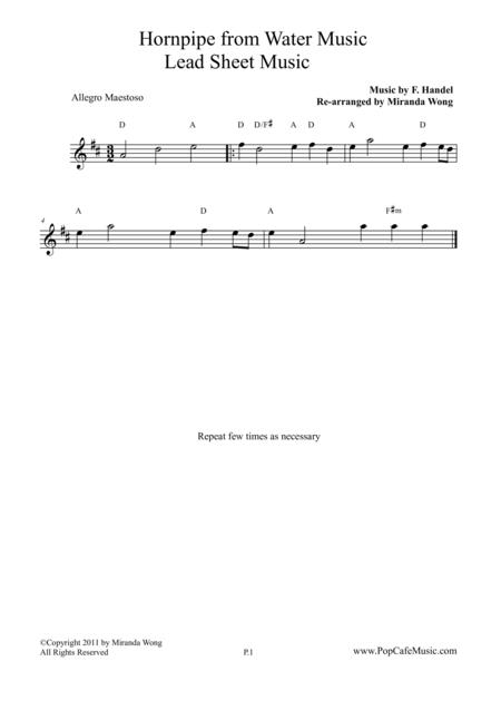 Allegro Maestoso (Hornpipe) from Water Music - Lead Sheet