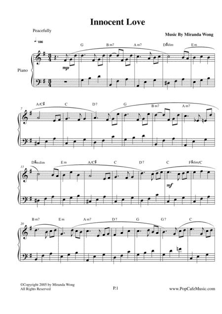 Download Innocent Love Wedding Piano Music Sheet Music By Miranda