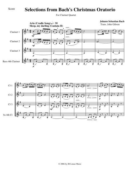 Bach's Christmas Oratorio Selections for Clarinet Quartet