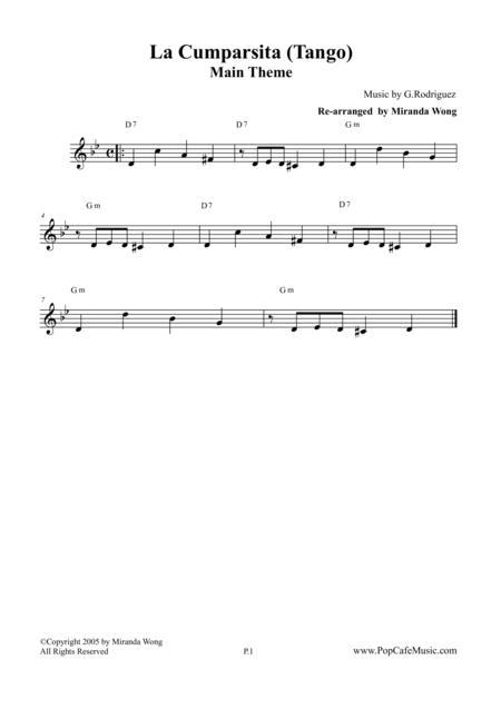 La Cumparsita (Famous Tango) - Lead Sheet