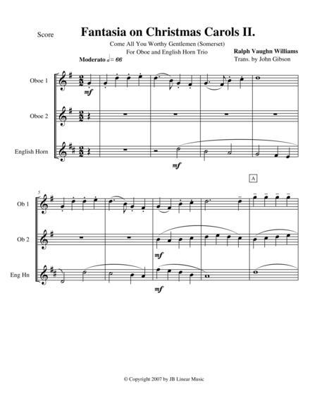 Vaughan Williams - Fantasia on Christmas Carols II for oboe trio