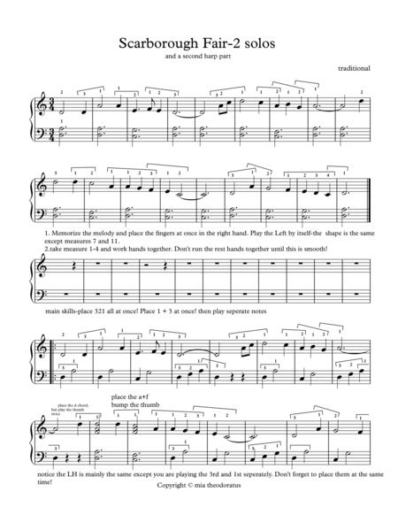 Download Scarborough Fair Arranged For Lever Harp Solo And Duet ...