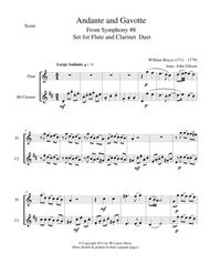 Andante and Gavotte by William Boyce for Flute and Clarinet