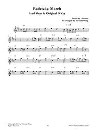 Radetzky March in Original D Key - Lead Sheet