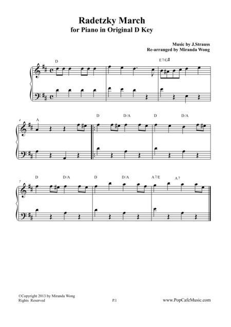 Radetzky March in Original D Key - Piano Solo