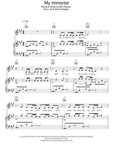 Download My Immortal Sheet Music By Andrea Begley Sheet Music Plus