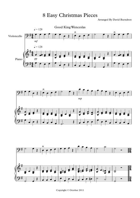 8 Easy Christmas Pieces for Cello And Piano
