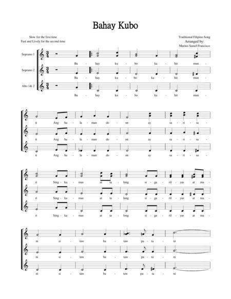 Download Bahay Kubo Sheet Music By Filipino Tradiotional Song ...