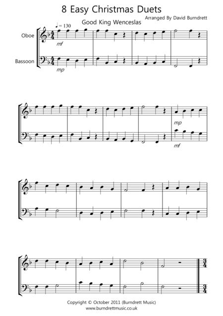 8 Christmas Duets for Oboe And Bassoon