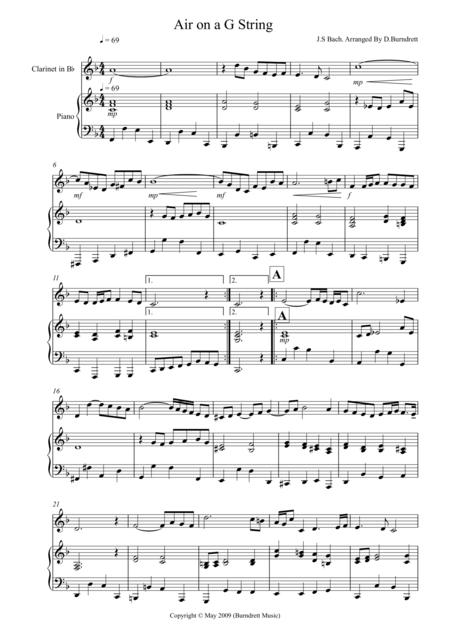 Air On A G String for Clarinet  And Piano