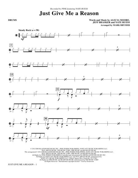 Download Just Give Me A Reason Drums Sheet Music By Pink Sheet