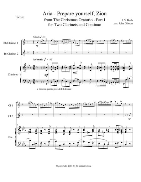 Bach - Aria from The Christmas Oratorio for clarinet duet