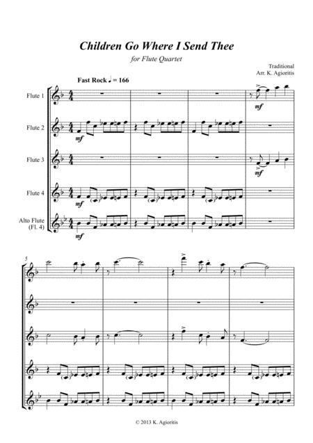 Children Go Where I Send Thee - For Flute Quartet