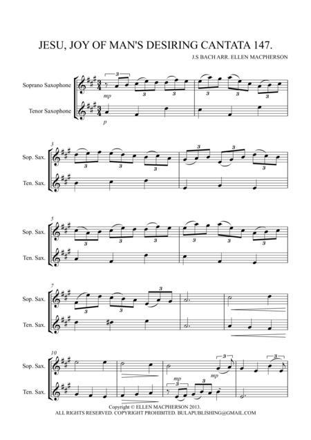 Jesu Joy of Man's Desiring from Cantata no.147 - SOPRANO SAX & TENOR SAX