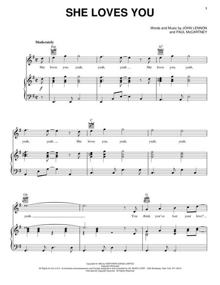She Loves You By The Beatles The Beatles Digital Sheet Music For Piano Vocal Guitar Download Print Tranposable Music Hx 272538 From Hal Leonard Digital Sheet Music At Sheet Music Plus