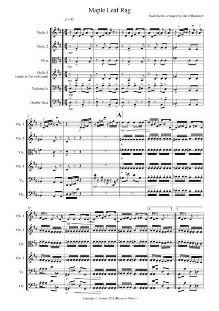 Maple Leaf Rag for String Orchestra