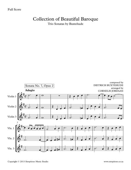 Collection of Beautiful Baroque - Trio Sonatas by Buxtehude arranged for 3 violins