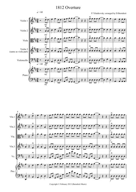 Download 1812 Overture For String Quartet Sheet Music By