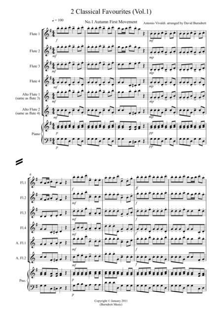 2 Classical Favourites for Flute Quartet (volume one)