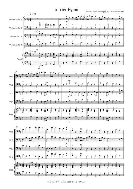 Jupiter Hymn for Cello Quartet