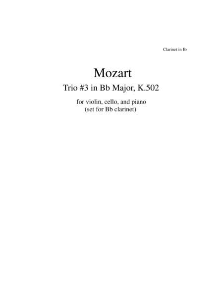 Mozart Piano Trio #3 set for Clarinet, Cello and Piano