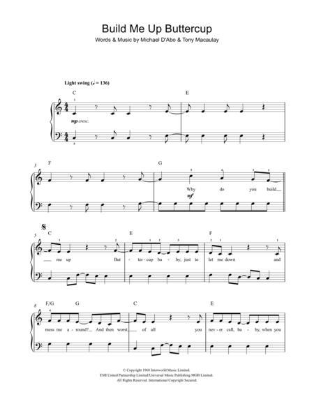 Modern Build Me Up Buttercup Chords Sketch - Beginner Guitar Piano ...