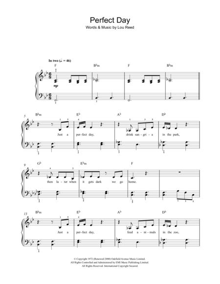 Download Perfect Day Sheet Music By Lou Reed - Sheet Music Plus