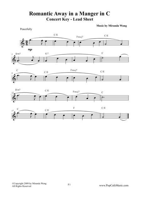Romantic Away in a Manger - Lead Sheet in C Key