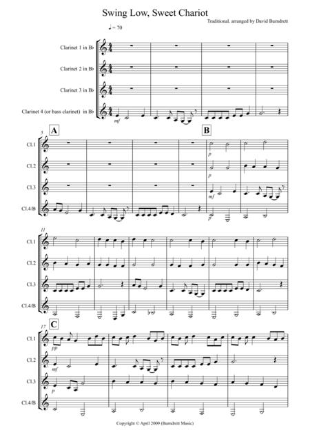 Swing Low, Sweet Chariot for Clarinet Quartet
