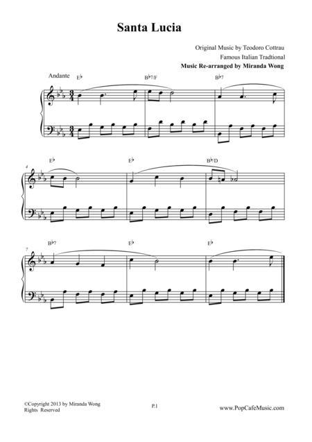 Santa Lucia - Piano Solo in Eb Key