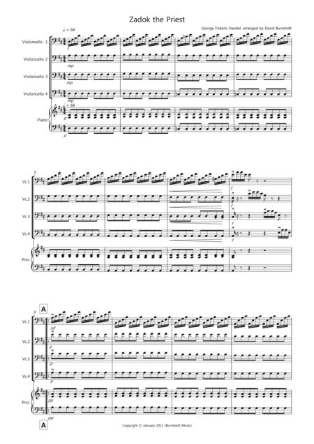 Zadok the Priest for Cello Quartet