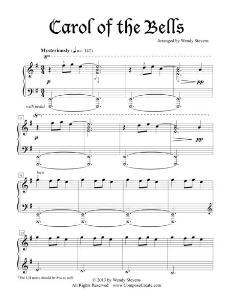 Download Carol Of The Bells Intermediate Sheet Music By Wendy