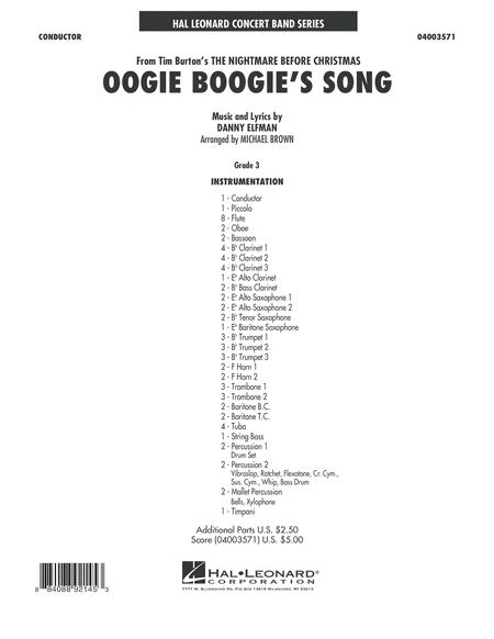 Oogie Boogie's Song (from The Nightmare Before Christmas) - Conductor Score (Full Score)