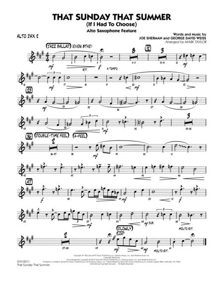 That Sunday That Summer (If I Had to Choose) - Alto Sax 2