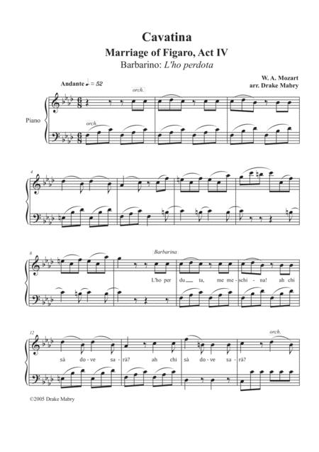 Download Mozart Cavatina From The Marriage Of Figaro Sheet Music