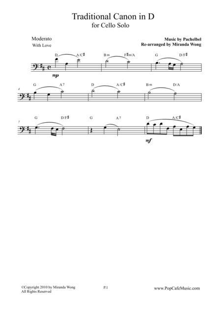 Traditional Canon in D - Cello Solo