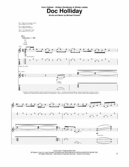 Download Doc Holliday Sheet Music By Volbeat - Sheet Music Plus