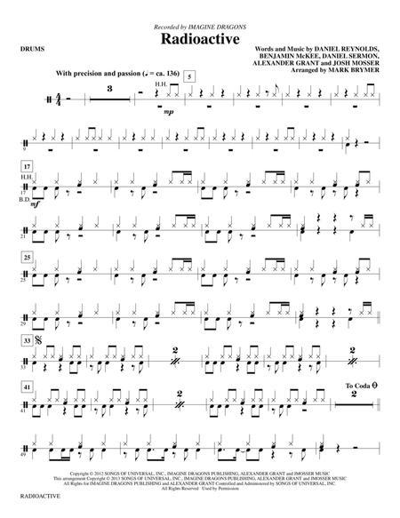 Download Radioactive Drums Sheet Music By Imagine Dragons Sheet