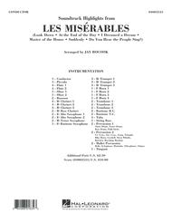 Soundtrack Highlights from Les Miserables - Conductor Score (Full Score)
