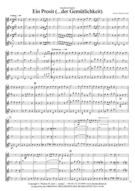 Ein Prosit - German Folk Song - Oktoberfest - Saxophone Quartet