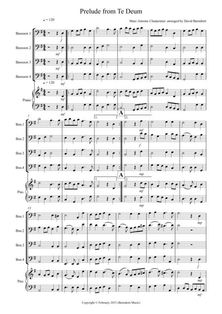 Prelude from Te Deum for Bassoon Quartet