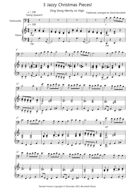 3 Jazzy Christmas Pieces for Cello and Piano