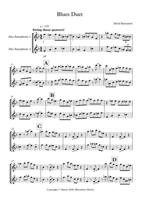 Download Blues Duet For Alto Saxophone Sheet Music By David