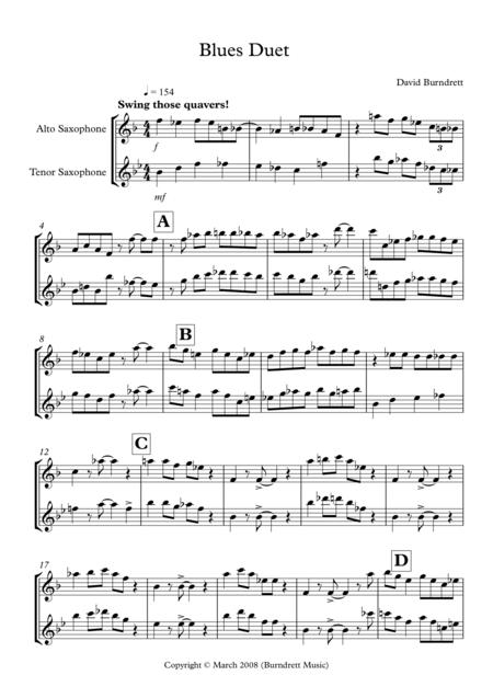 Download Blues Duet For Alto And Tenor Saxophone Sheet Music By