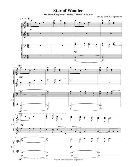 Star of Wonder (We Three Kings) with Twinkle, Twinkle Little Star (piano duet)