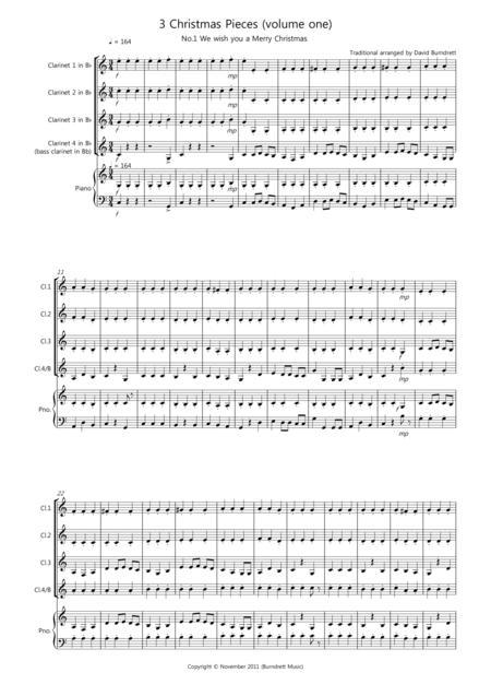 3 Easy Christmas Pieces for Clarinet Quartet (volume one)